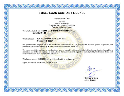 new mexico lending license