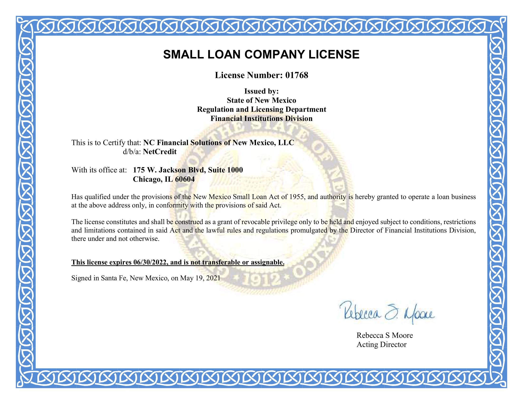 new mexico lending license